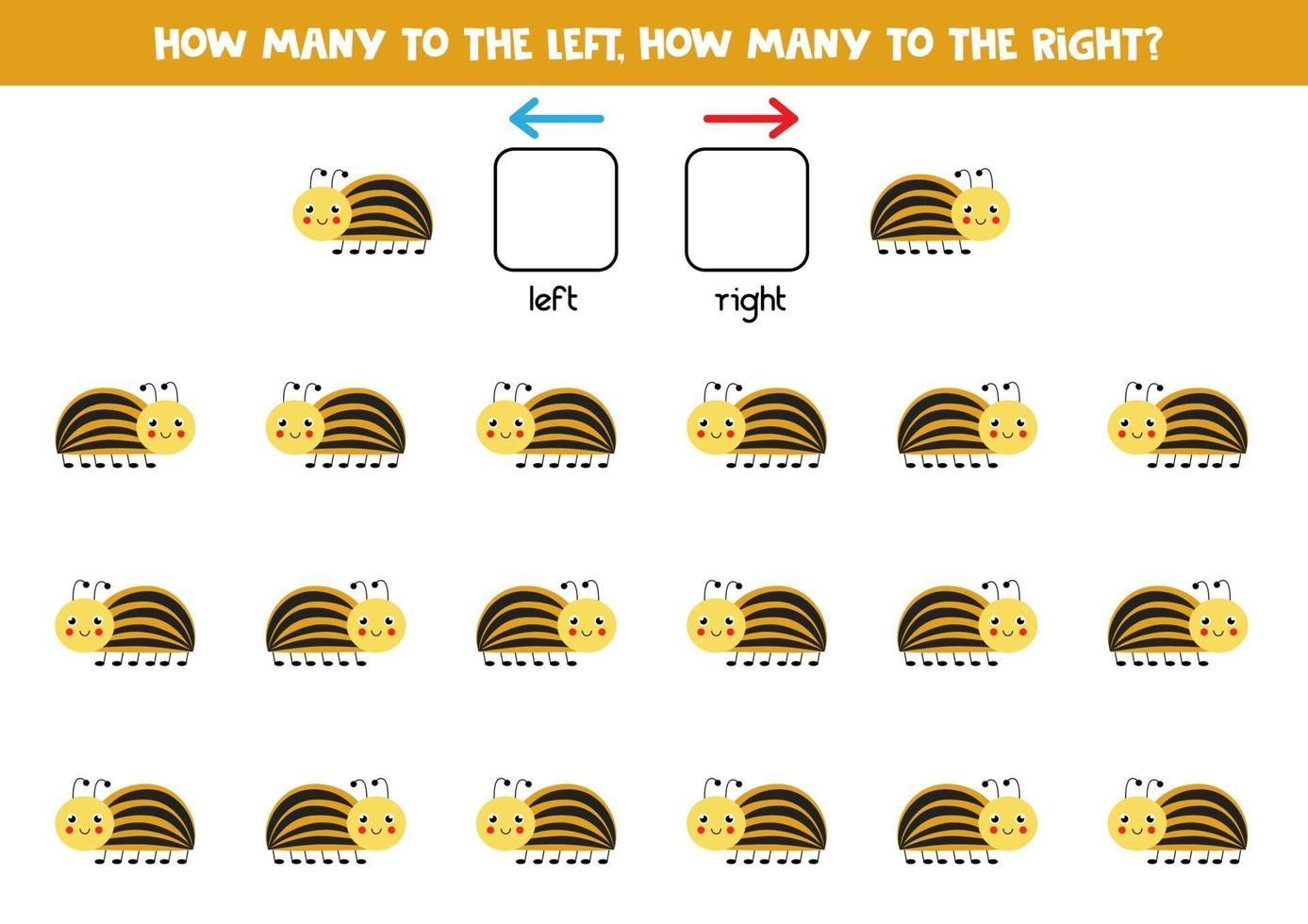 links oder rechts mit süßem Colorado Käfer. logisches Arbeitsblatt für Kinder im Vorschulalter. vektor