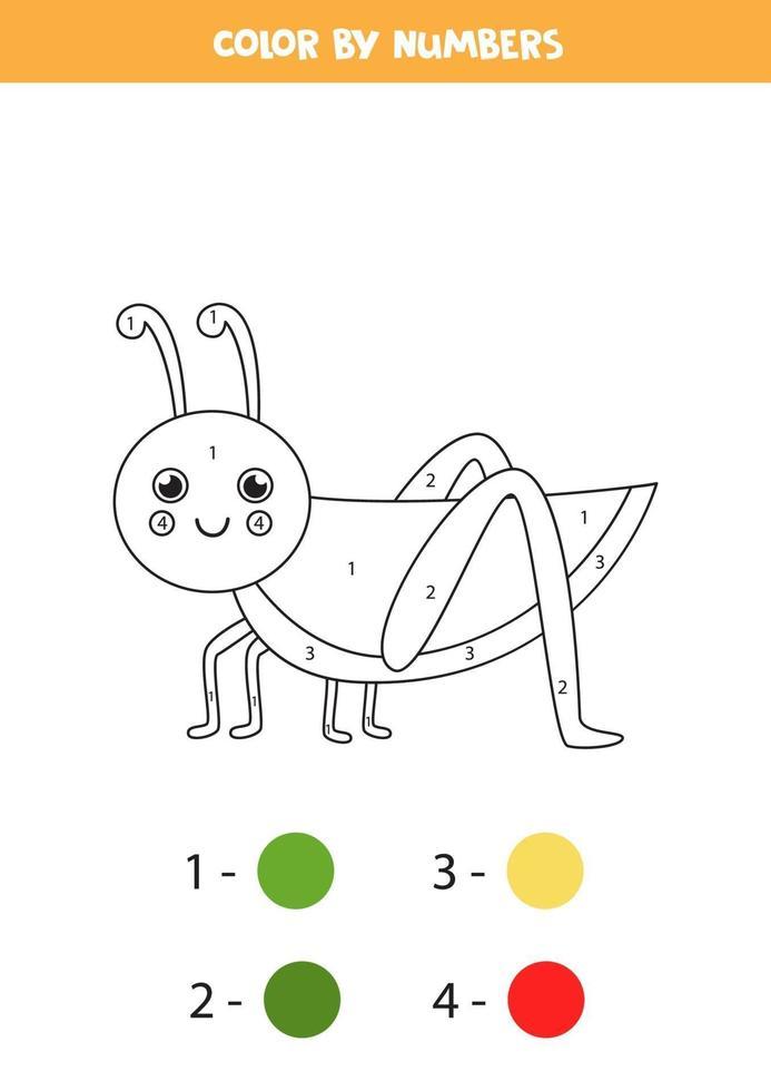 färg tecknad gräshoppa med siffror. kalkylblad för barn. vektor