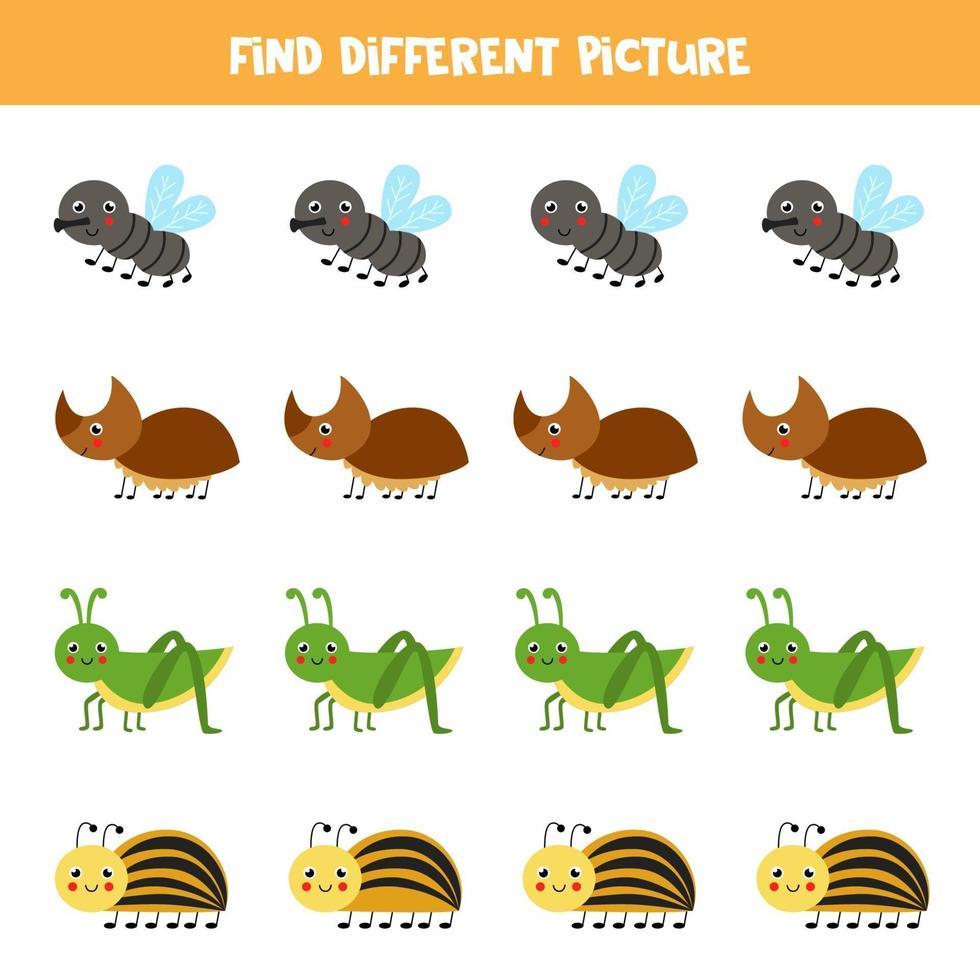 hitta söta insekter som skiljer sig från andra. kalkylblad för barn. vektor