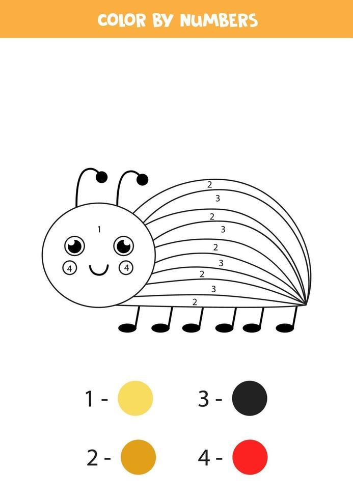 färg tecknad colorado bug efter siffror. kalkylblad för barn. vektor
