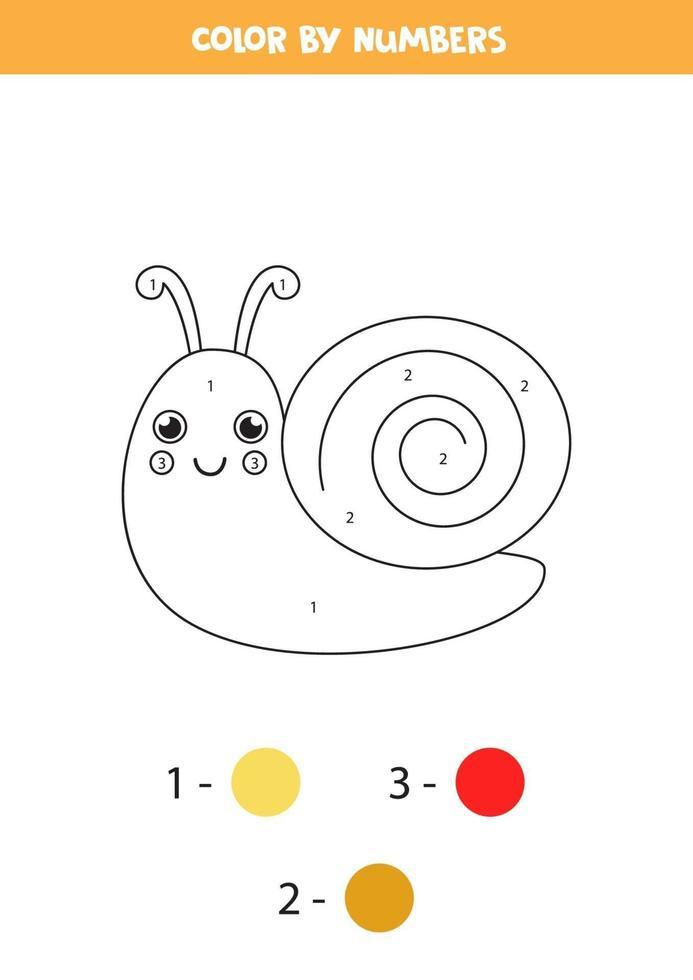 färg tecknad snigel med siffror. kalkylblad för barn. vektor