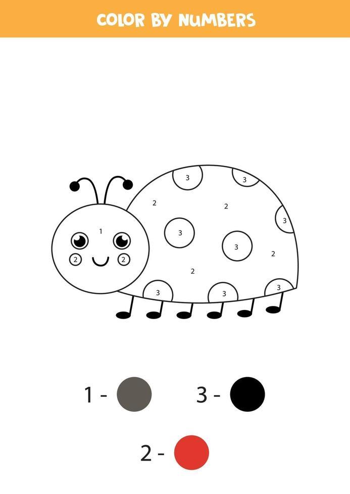 färg tecknad nyckelpiga med siffror. kalkylblad för barn. vektor