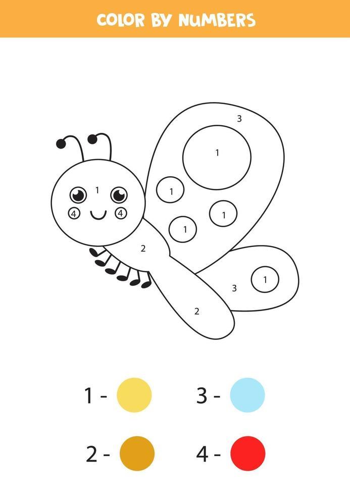 Farbe niedlichen Schmetterling durch Zahlen. Arbeitsblatt für Kinder. vektor