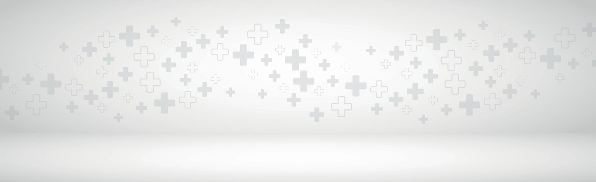 medicinsk volymetrisk grå bakgrundspanorama med många kors vektor