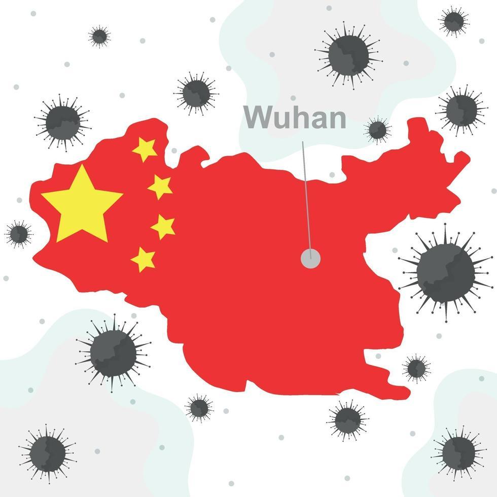 bakterier roman covid-19 virus, wuhan staden Kina - vektor
