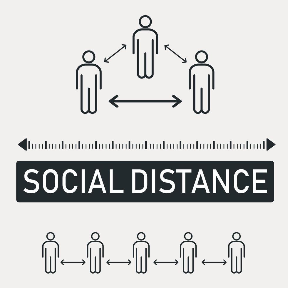 ny världstrend social avstånd, pandemikonsekvenser - vektor