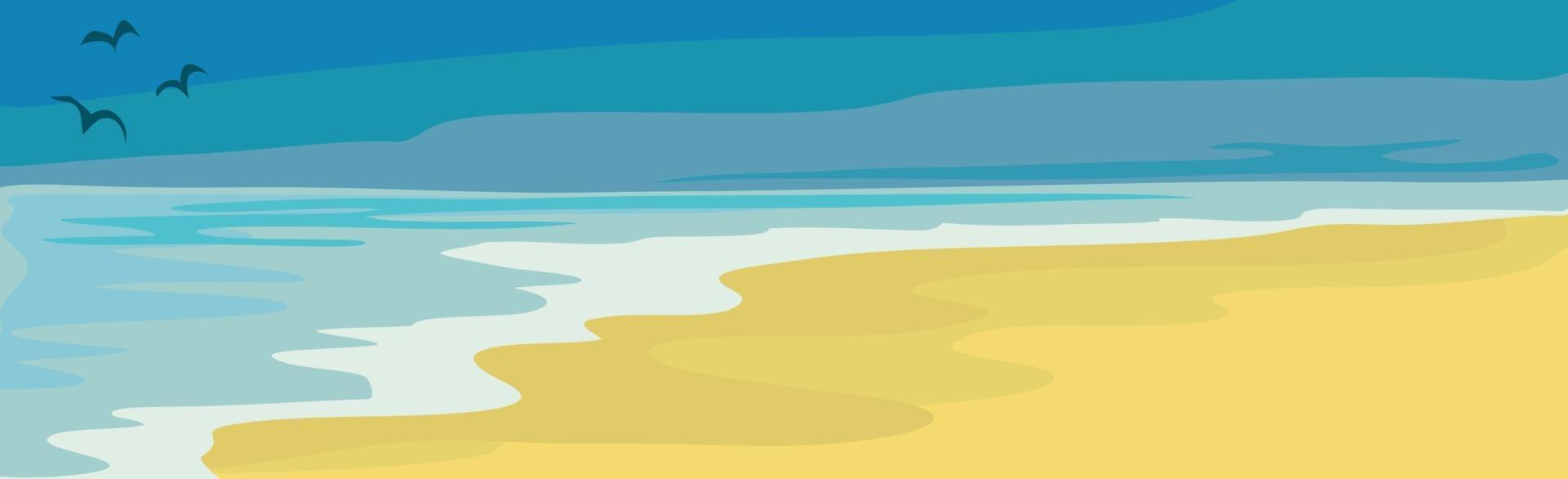 illustration solig sandstrand och blått hav vektor