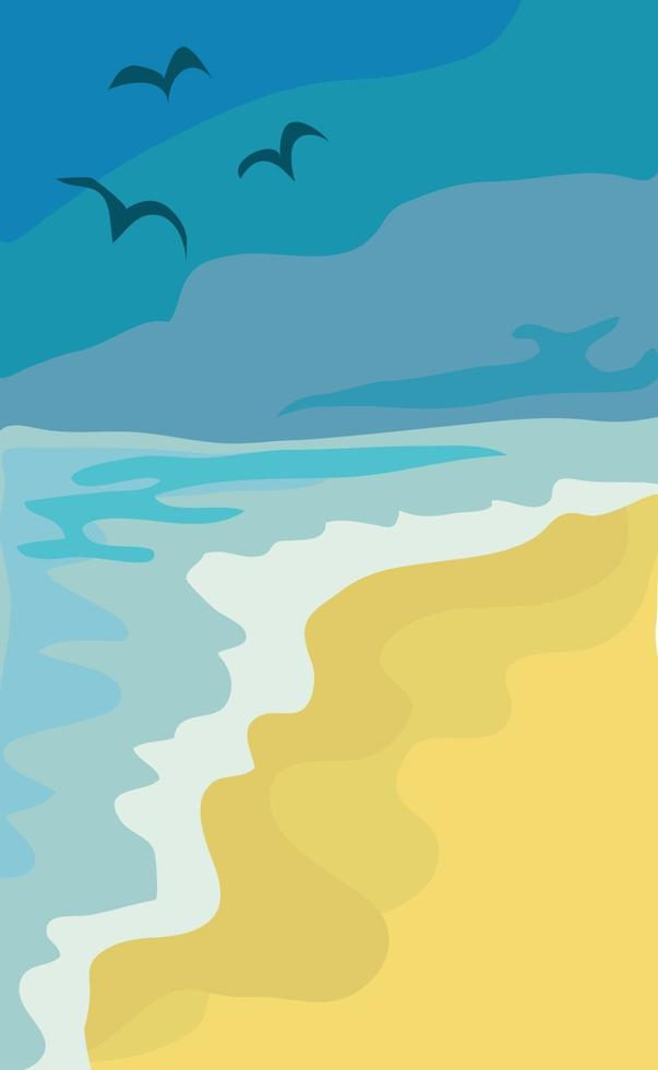 Illustration sonniger Sandstrand und blaues Meer vektor