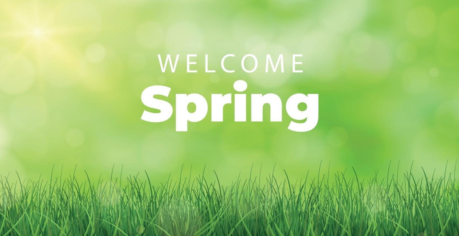 välkommen våren ljus solig bakgrund affisch - vektor