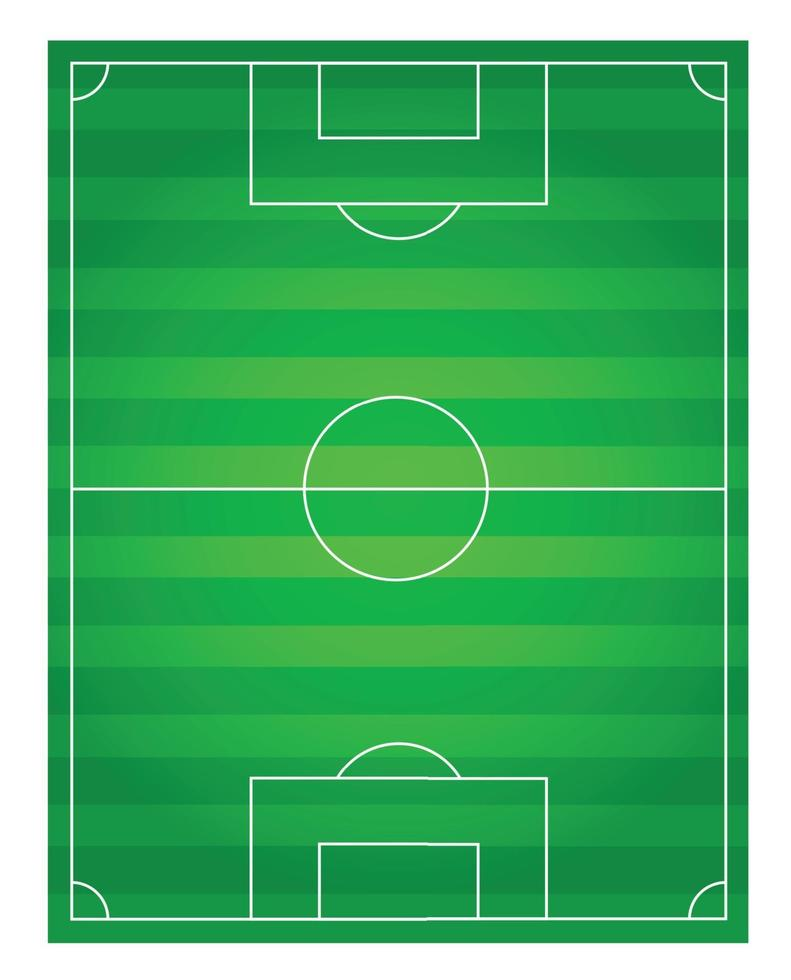 klassisk fotbollsplan med tvåfärgad grön beläggning vektor