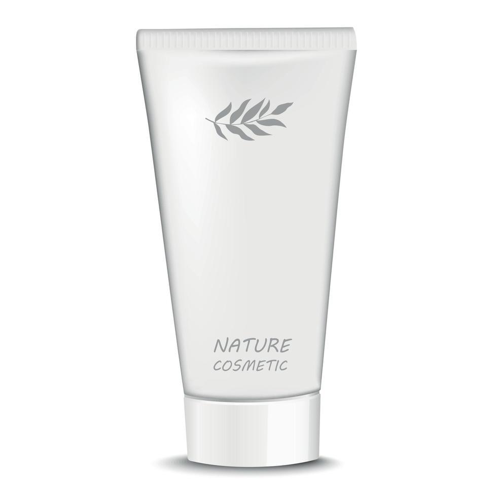 vitt rör med grädde naturlig kosmetika - vektor