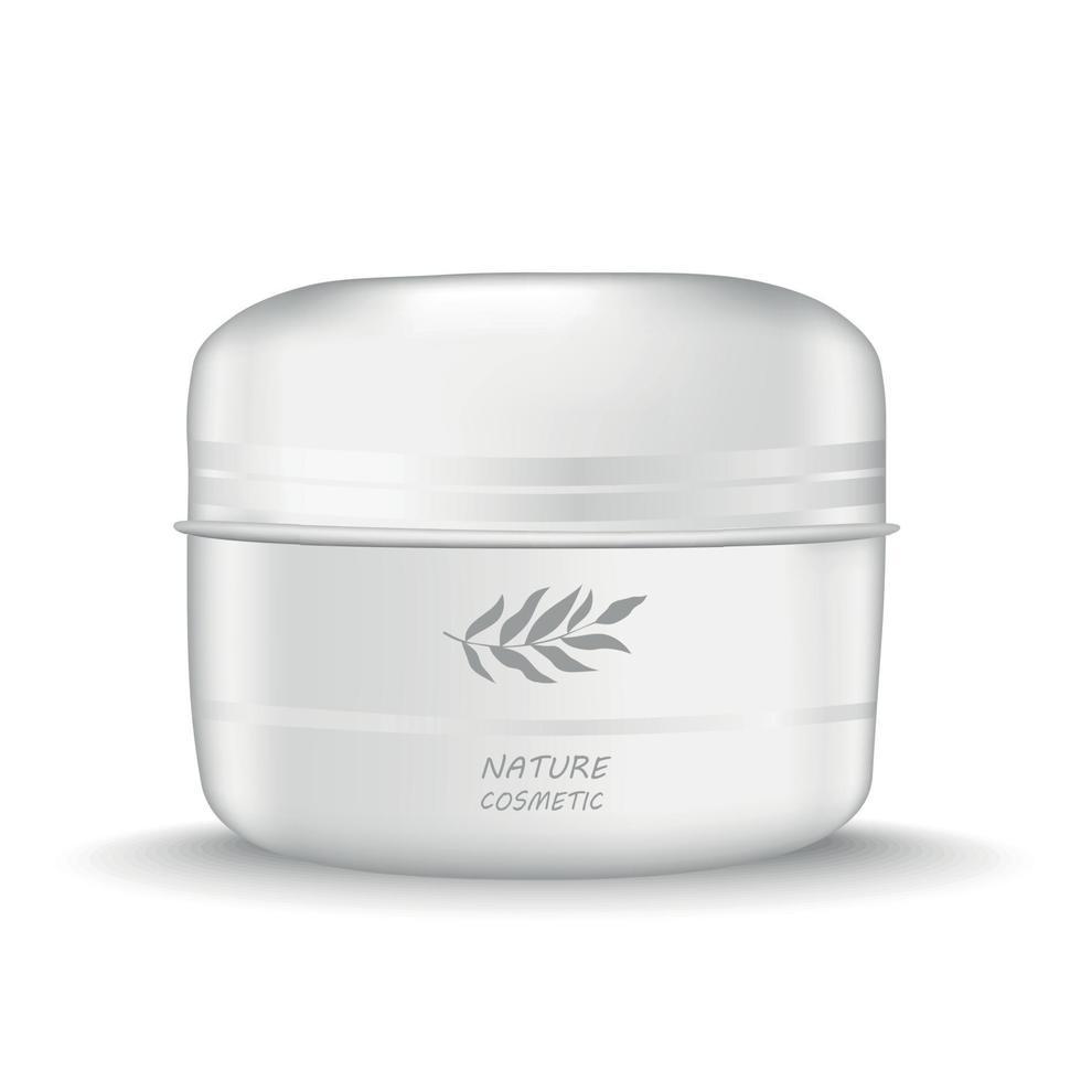 vit burk med kräm naturlig kosmetika - vektor