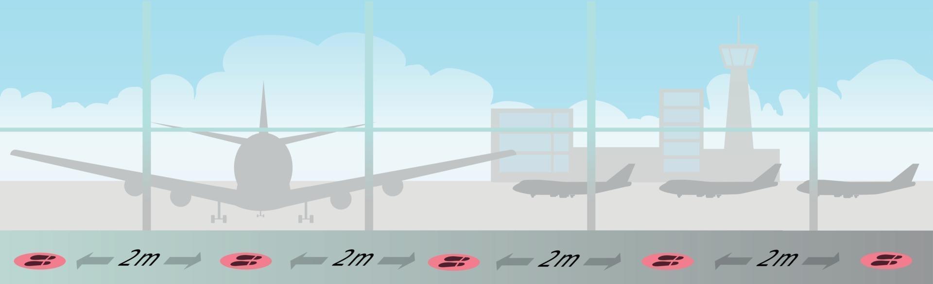 sociala avstånd och körfältmarkeringar i en stor flygplats vektor