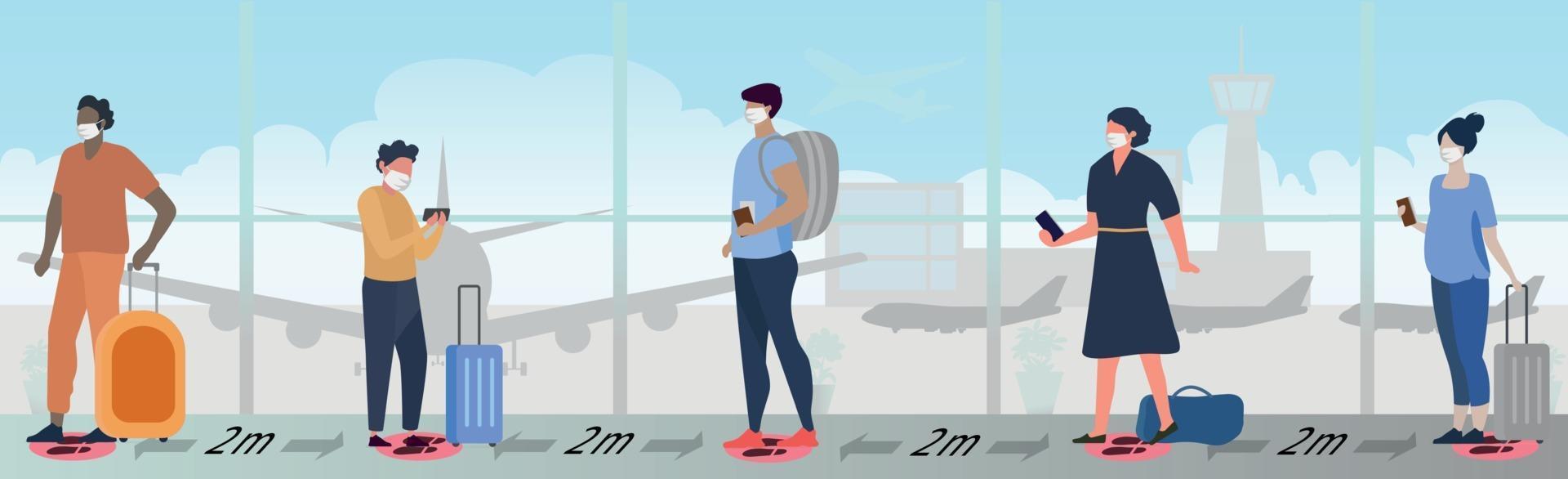 en stor kö av människor i flygplatsbyggnaden som väntar på ombordstigning vektor