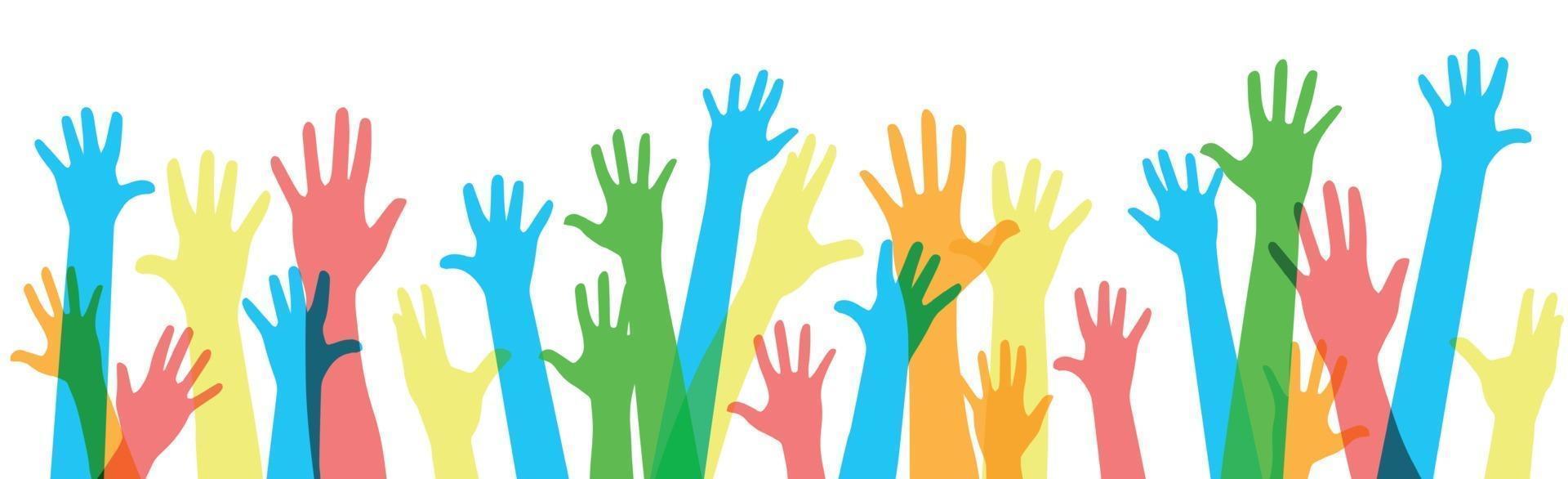 många flerfärgade händer på en vit bakgrund - vektor