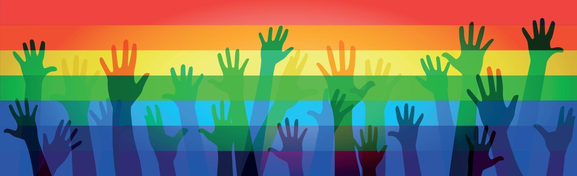 många flerfärgade händer på en regnbågsflagga vektor