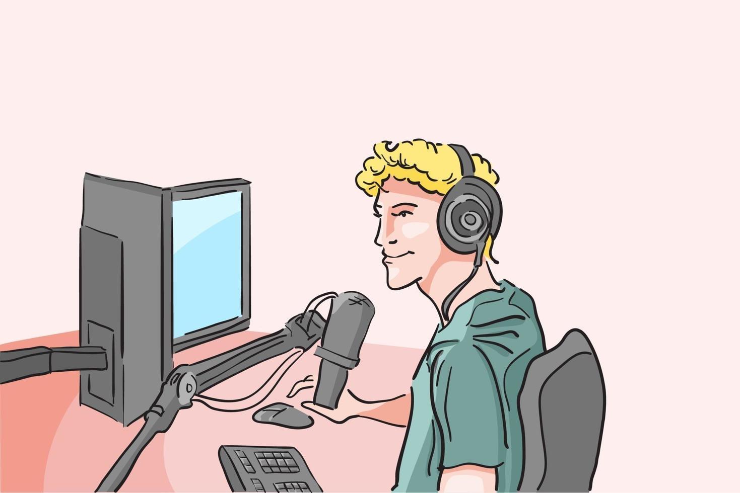 streamer med enheter för streaming, pro player gamer spelar spel online, influencer live podcasting online, programmerare möte med chatt, innehåll för bidragsgivare, platt vektorillustration vektor