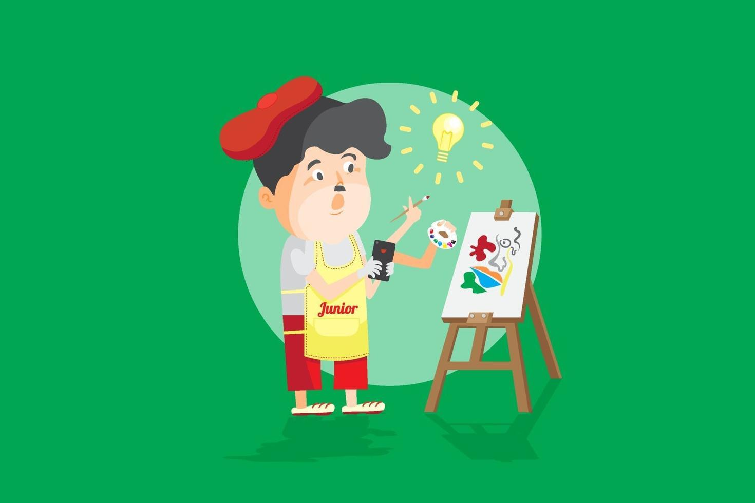 amatör konstnär lärande form online lektion i smartphone, studera i konst klass online streaming, som ansikte mot ansikte utbildning tecknad platt vektorillustration. vektor