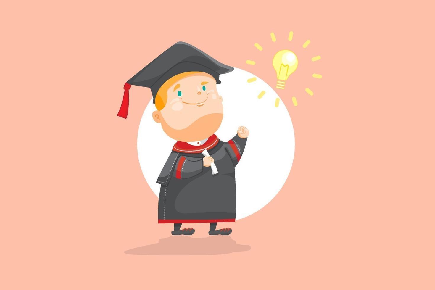 den intelligenta pojken tog examen pojken i akademisk klädsel eller subfusc med ljusa tecken glödlampa, smart kid framgång i prestation på äggfärg bakgrund platt vektorillustration. vektor
