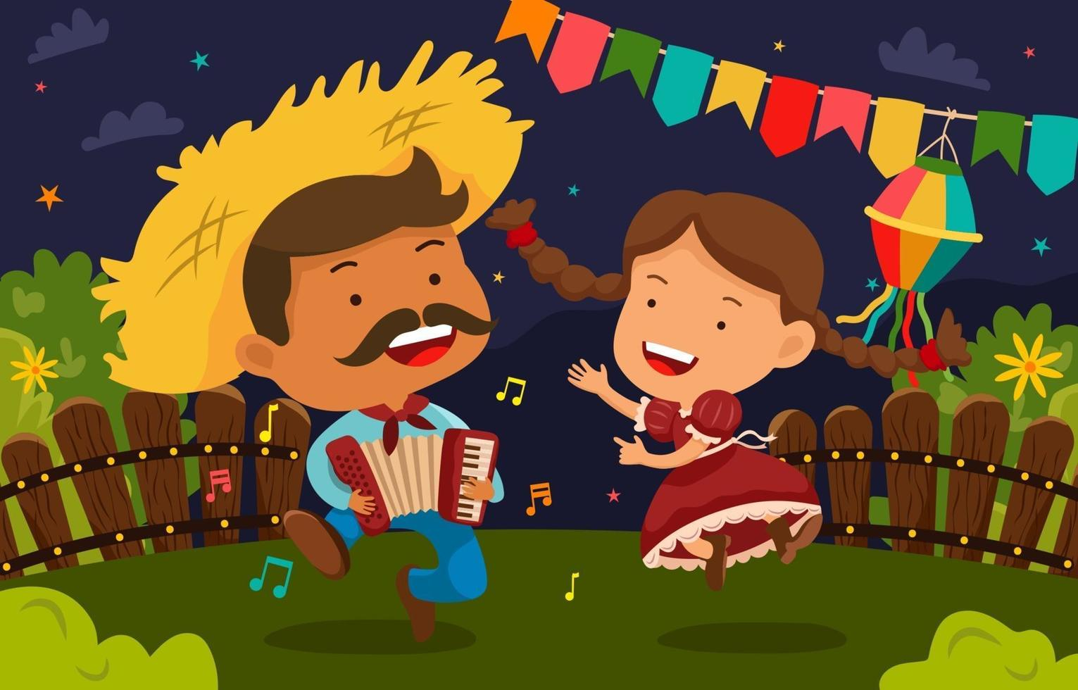 man och kvinnor dansar på festa junina festival vektor