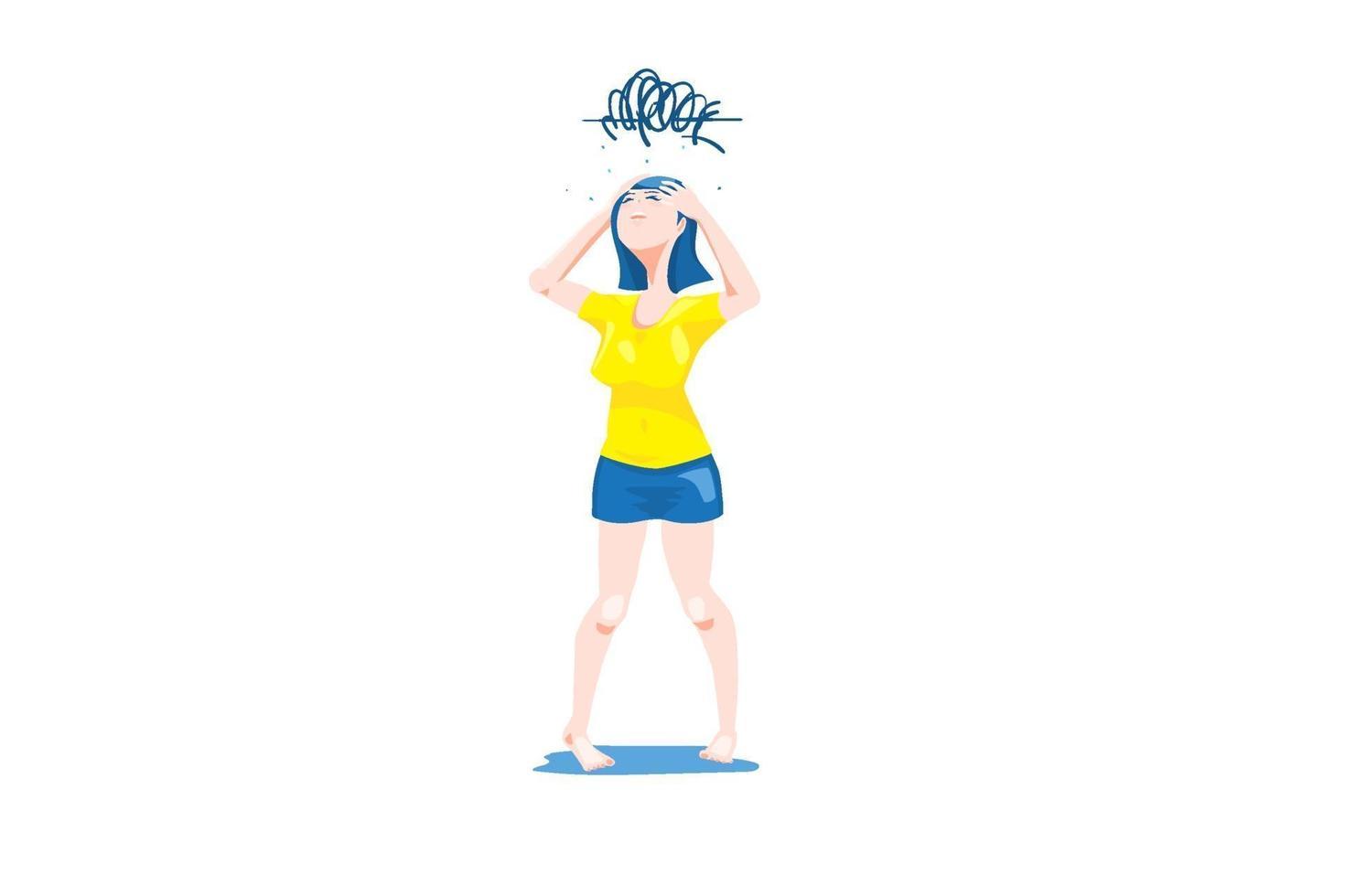 flickan i gul t-shirt och blå mini kjol med oro och förvirring känslor, huvudvärk rörelse i vit bakgrund. vektor
