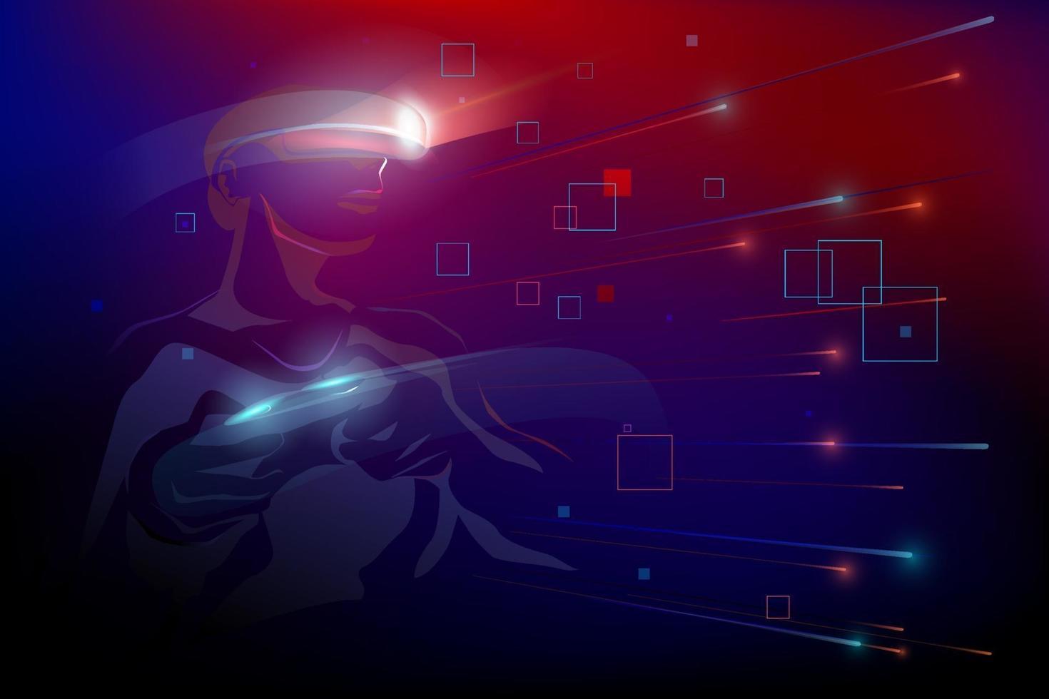 man som bär virtual reality-enhet vr spelar spel, rör rörelse i abstrakt digital 3d-värld, vektorillustration vektor