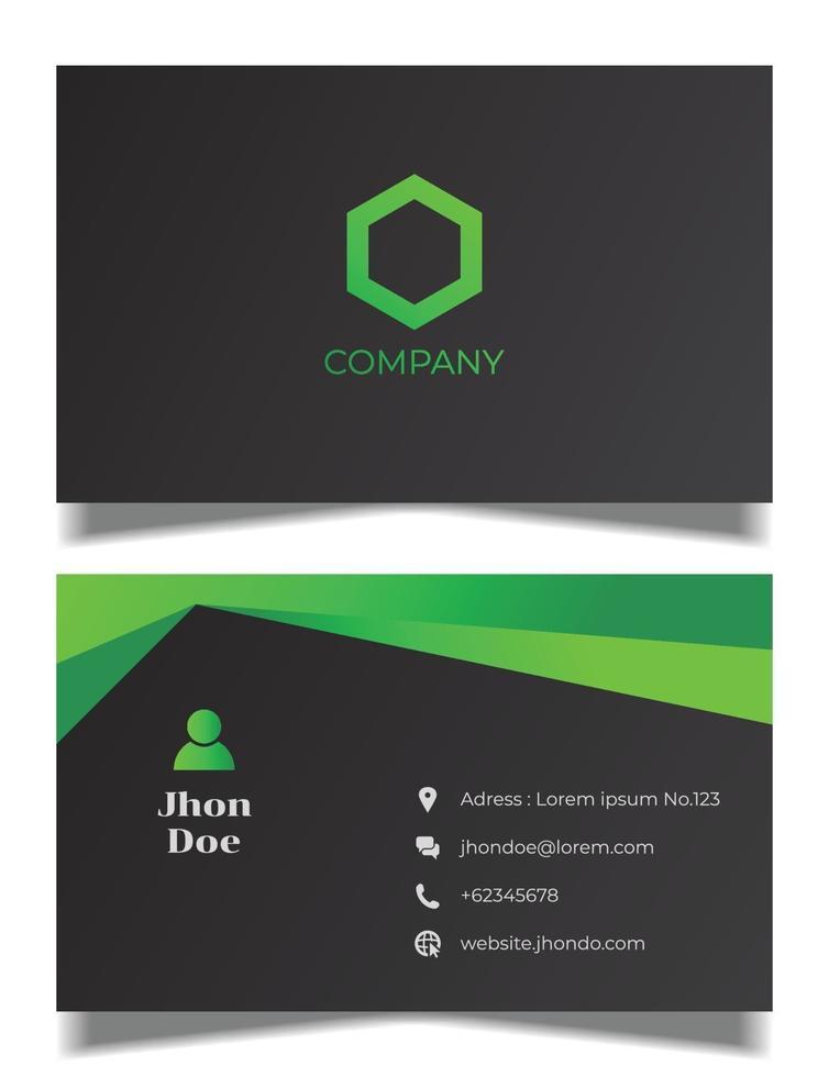 elegant svart och grönt visitkortsvektormall vektor