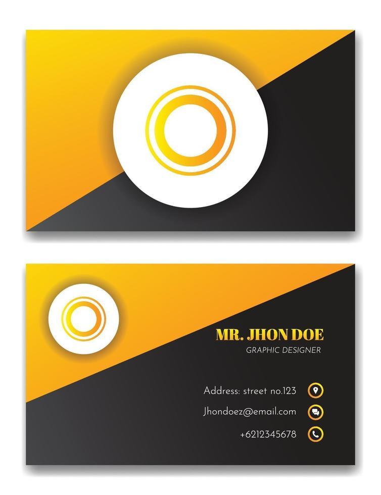 elegant svart och orange visitkortsvektormall vektor