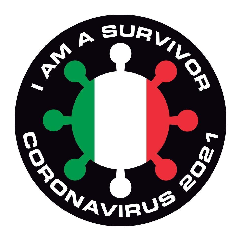 jag är överlevande coronavirus 2021 Italien flagg klistermärke vektor