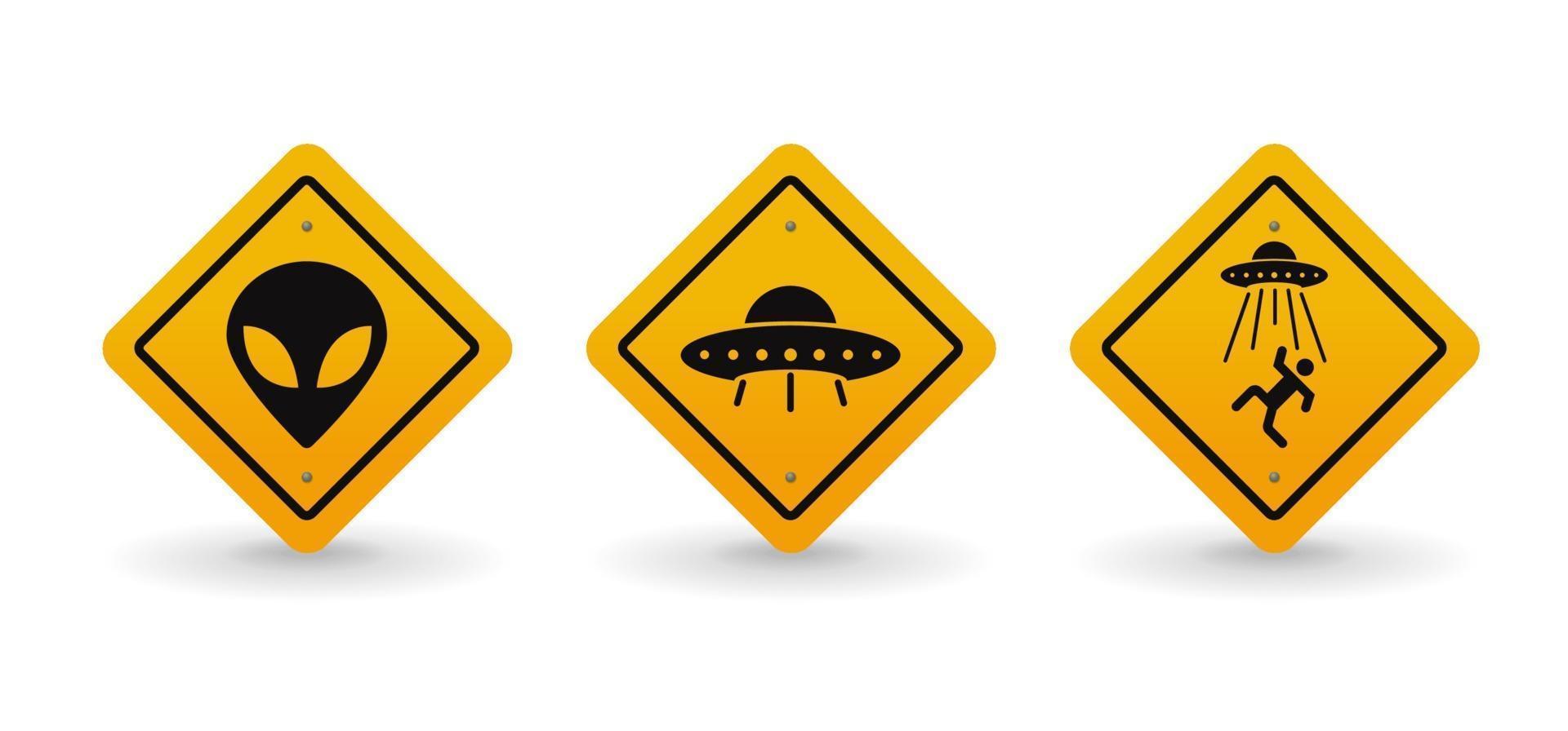 Alien- und UFO-Warn-Verkehrsschild-Sammlungssatz, Vektorillustration vektor