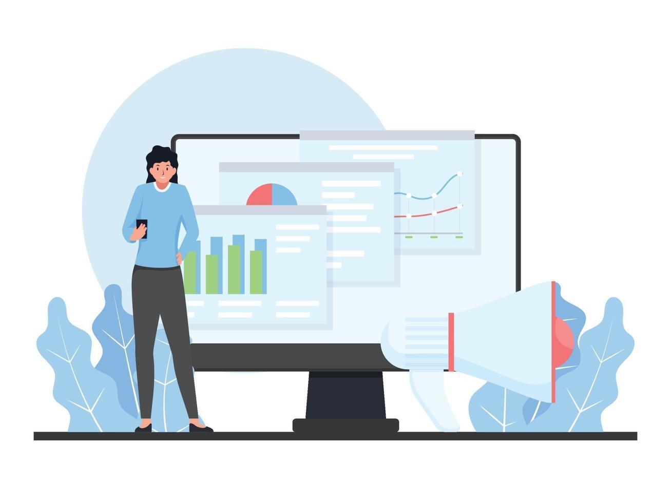 platt digital marknadsföringsillustration. vektor