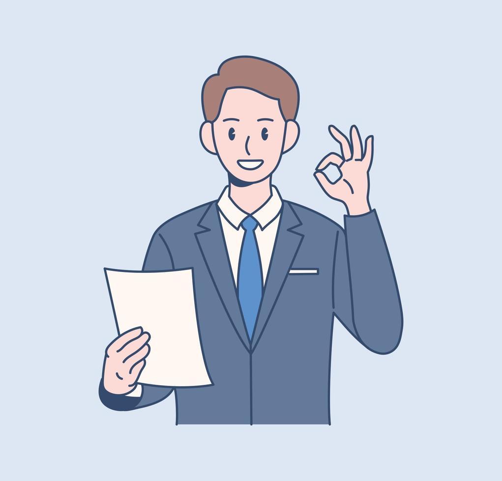en manlig kontorsarbetare undertecknar ok. handritade stilvektordesignillustrationer. vektor