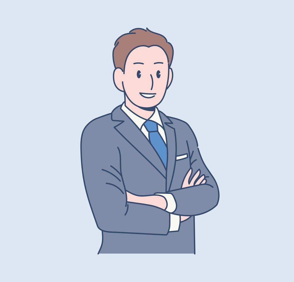 en manlig kontorsarbetare står i en säker pose. handritade stilvektordesignillustrationer. vektor