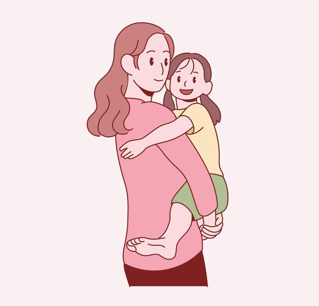 mamman kramar sin unga dotter. handritade stilvektordesignillustrationer. vektor