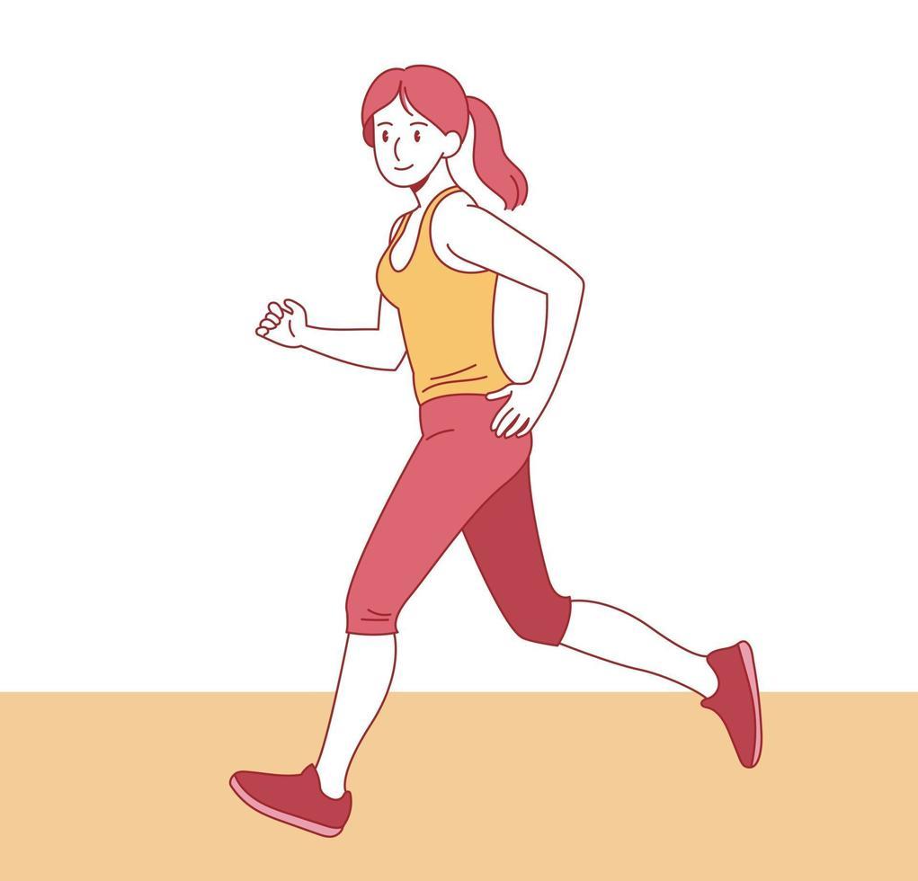 en smal kvinna springer. handritade stilvektordesignillustrationer. vektor
