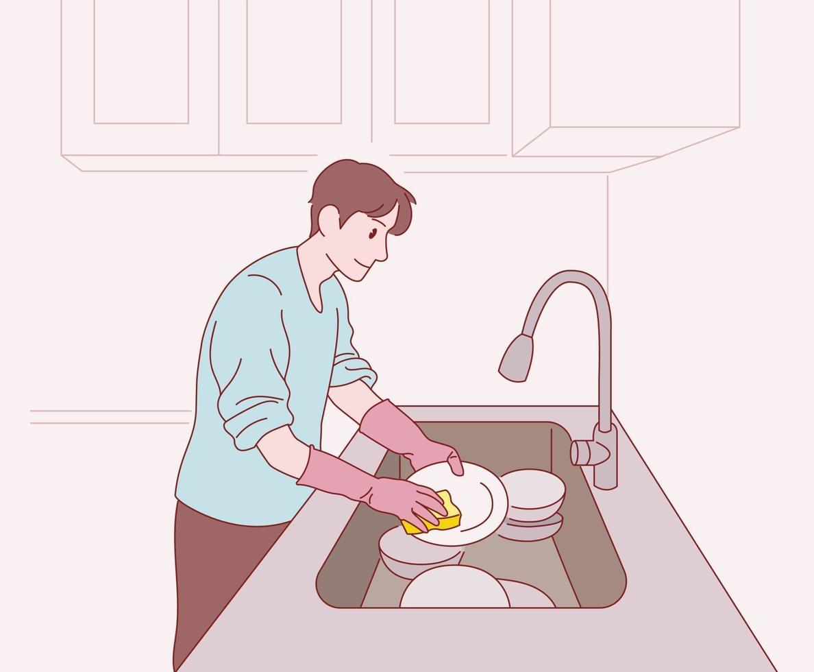en man tvättar disken. handritade stilvektordesignillustrationer. vektor