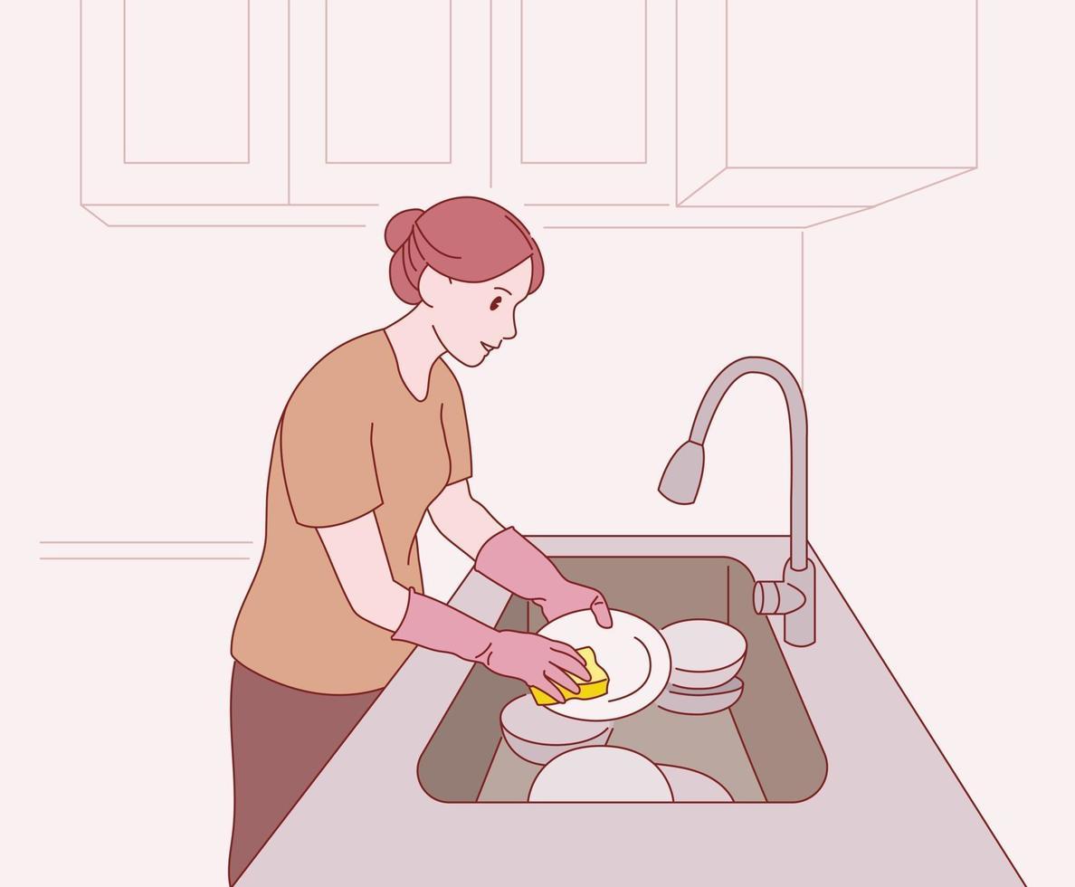 en kvinna tvättar disken. handritade stilvektordesignillustrationer. vektor
