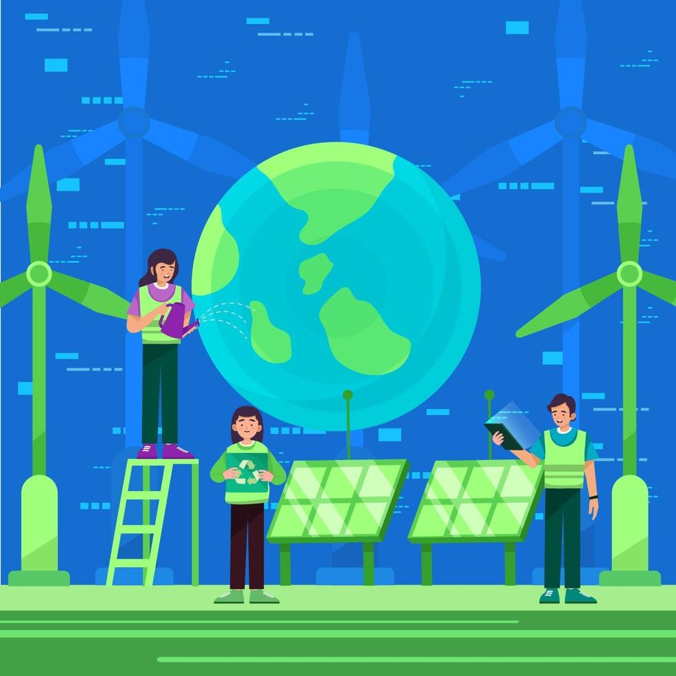 Mann und Frau Teamwork retten die Erde vektor