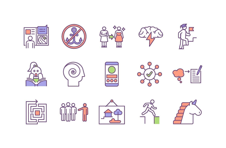 tänkande och kreativitet RGB färg ikoner set vektor