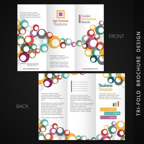 Färgglad trippel broschyrdesign med flytande cirklar vektor