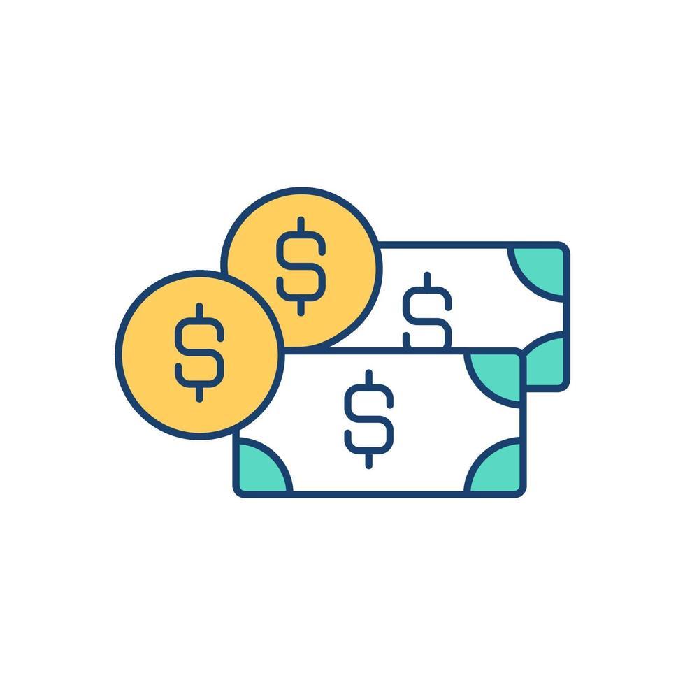 pengar rgb färgikon vektor