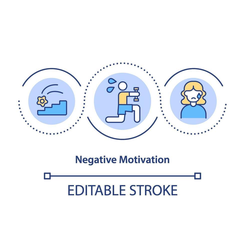 Symbol für negatives Motivationskonzept vektor