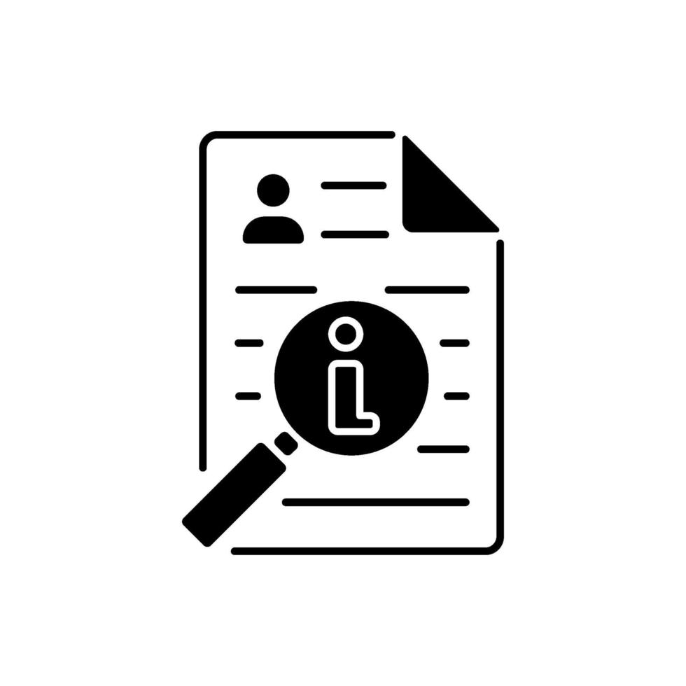 schwarzes lineares Symbol des Informationsbrokers vektor