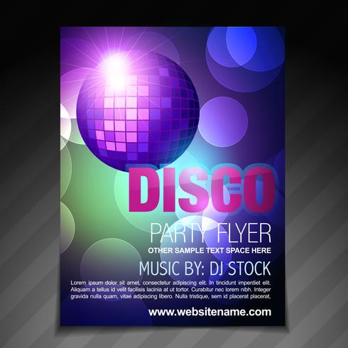 disco party flyer broschyr och affisch mall design vektor