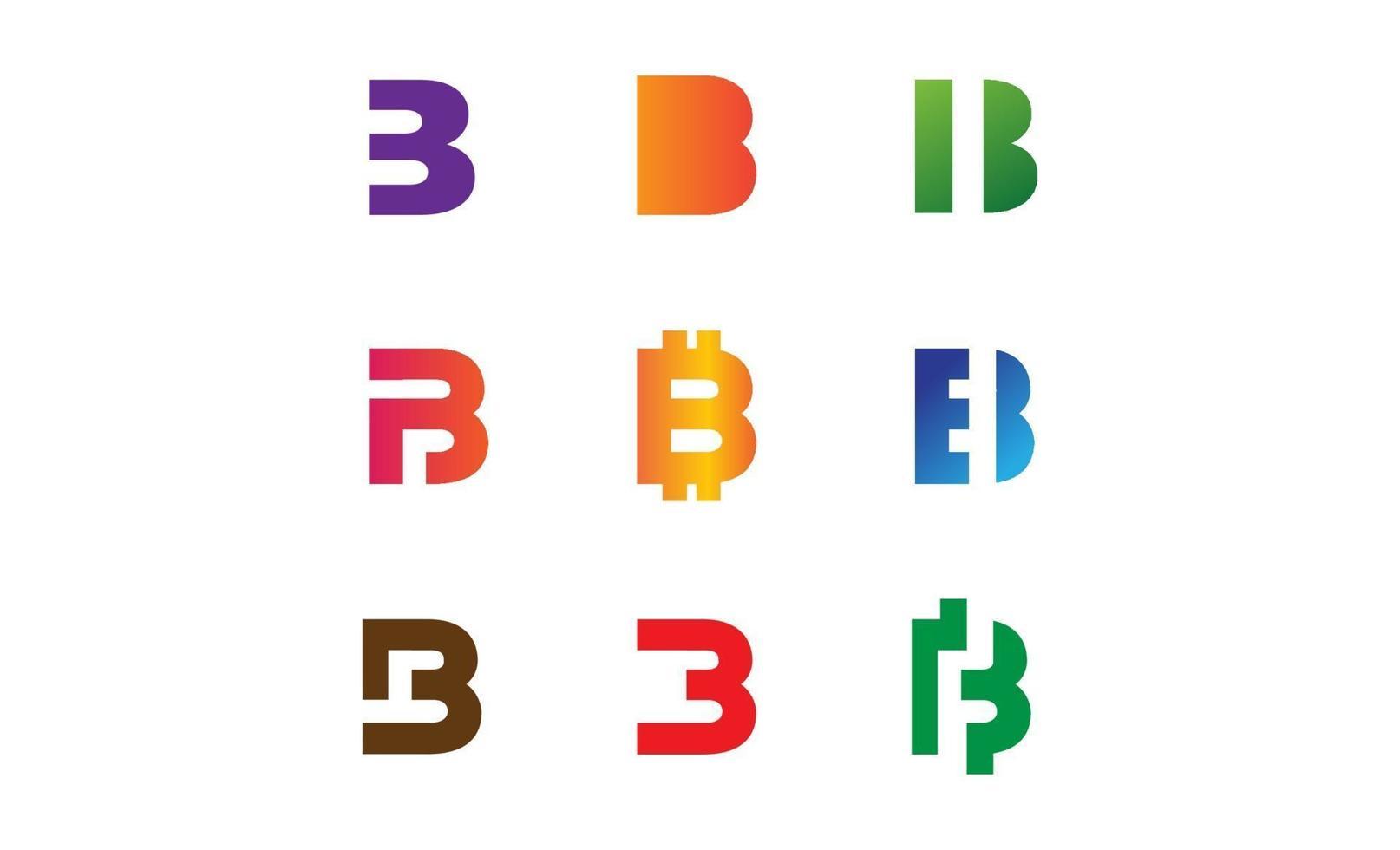 ställa in bokstaven b logotyp mall vektorillustration vektor