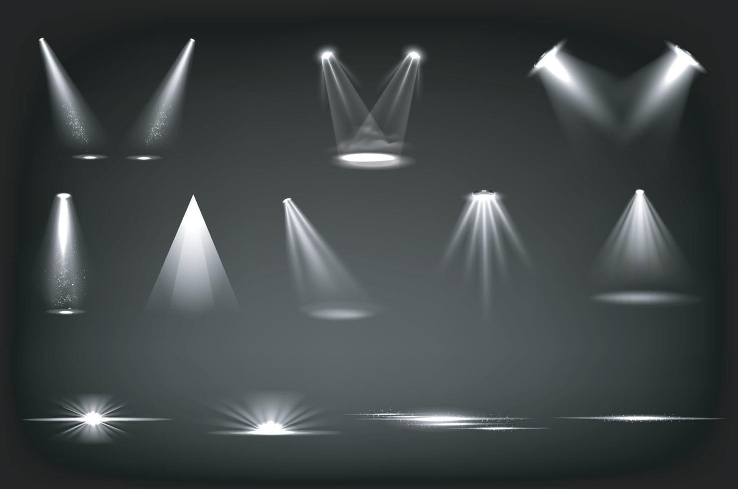 Bühnenlichter, weiße Scheinwerfer vektor