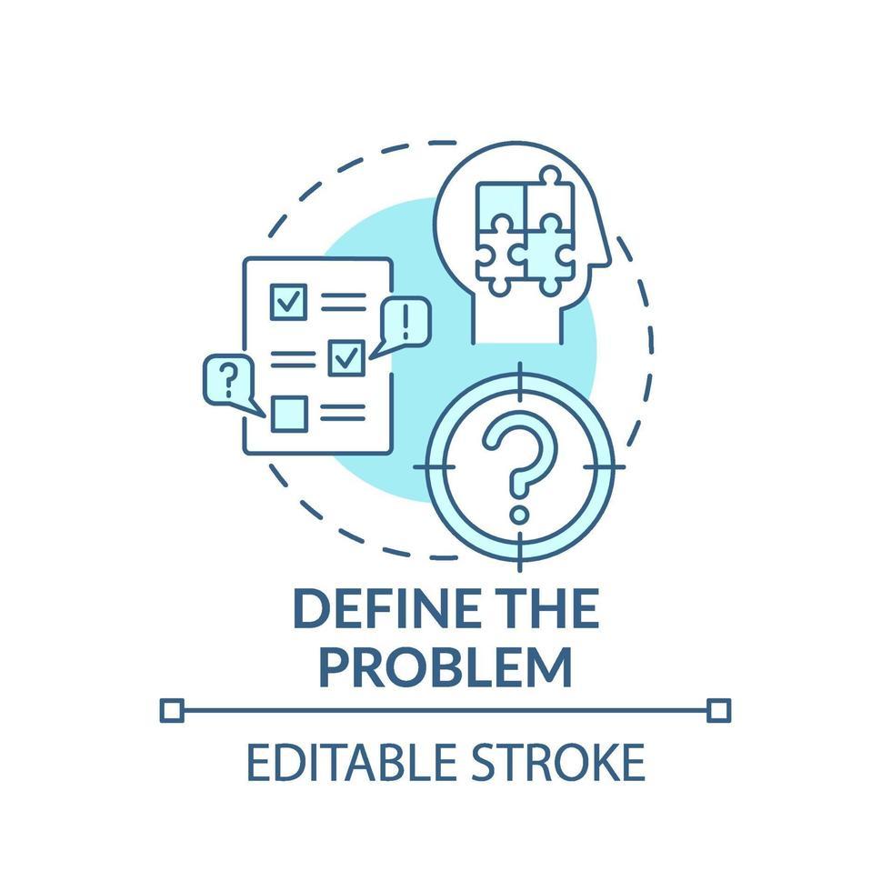Definieren Sie das blaue Konzeptsymbol für das Problem vektor