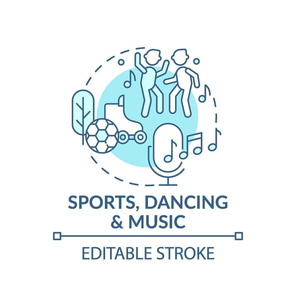 Sport, Tanz und Musik blaue Konzeptikone vektor