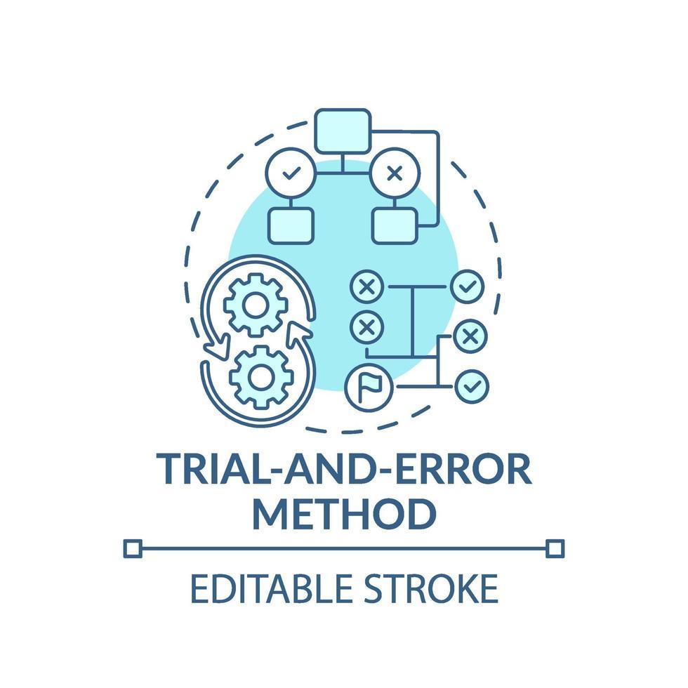 försök och fel metod blå koncept ikon vektor