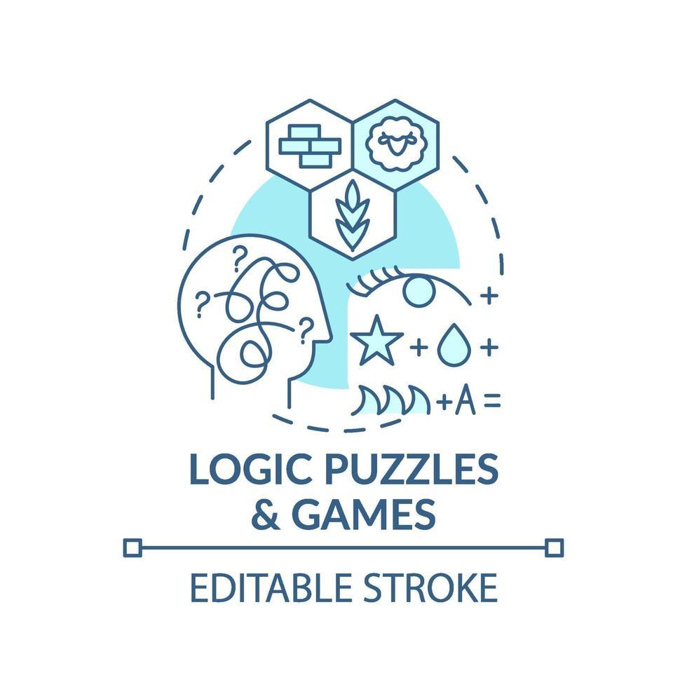 logik pussel och spel blå koncept ikon vektor